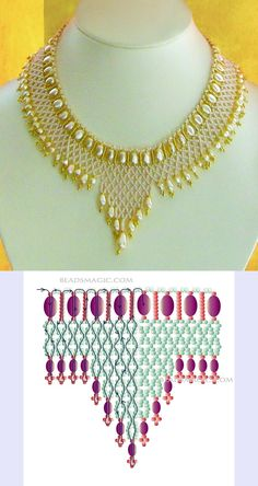 Necklaces Diy alkalmi nyaklánc mintával - Free pattern for beaded necklace Princess U need: seed beads pearl beads Seed Bead Jewelry, Bead Jewellery, Seed Beads, Crystal Jewelry, Beaded Crafts, Jewelry Crafts, Jewelry Art, Beading Tutorials, Beading Patterns