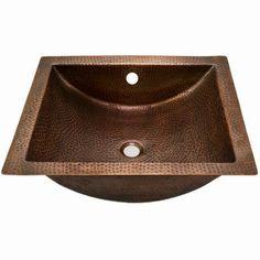 Houzer HW-TETRA15A Hammerwerks Series Undermount Concave Lavatory Sink Copper - HW-TETRA15A