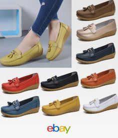 8f3c63dd25d Women s Oxford Leather Shoes Casual Driving Moccasin Loafers Flats Lazy Peas