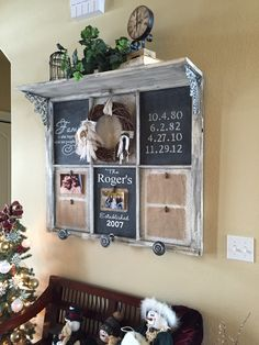 Vintage window, shelf and wreath.