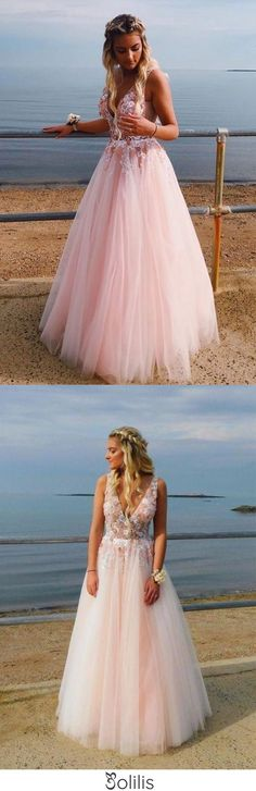 Elegant Deep V Neck Backless Long Pink Prom Dress with Appliques Beading, Party Dress SJS15165, This dress could be custom made, there are no extra cost to do custom size and color Yellow Homecoming Dresses, Short Red Prom Dresses, Prom Dresses Online, Cheap Prom Dresses, Dresses Uk, Fashion Dresses, Formal Dresses, Champagne Evening Dress, Burgundy Evening Dress