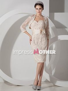 Ivory Short Sheath Lace With Jackets Beaded Mother of Bride Dress - US$ 128.99 - Style M0517 - Impress Mother