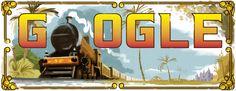 160th Anniversary of the First Passenger Train in India [160 лет с того дня, как в Индии отправился первый пассажирский поезд] /This doodle was shown: 16.04.2013 /Countries, in which doodle was shown: India