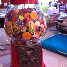 Button bubble gum machine