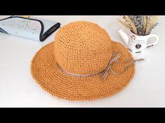 How To Crochet A Beach Hat - Crochetopedia Crochet Ball, Crochet Shoes, Crochet Slippers, Knit Crochet, Crochet Crafts, Crochet Projects, Crochet Stitches, Crochet Patterns, Sombrero A Crochet