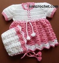 Free baby crochet pattern for dress and bonnet http://www.justcrochet.com/dress-bonnet-usa.html #patternsforcrochet #freebabycrochetpatterns
