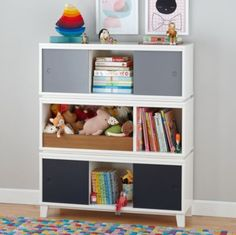 Bill Eastburn for Land of Nod - Fun Storage unit! Love the open and closed storage District Storage Bench/Bookcase (White)