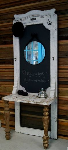 kapstok,krijtbord en tafeltje van oude deur