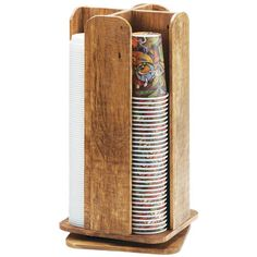 "Keep supplies neat and organized at your venue with this Cal-Mil 378-99 Madera reclaimed wood revolving lid and cup organizer! Its square base is divided into four vertical sections, ideal for holding cups or lids with diameters up to 3 3/4"". For added convenience, this unit rests atop a revolving base, providing easier access from all sides. The reclaimed wood construction adds a natural look to your coffee shop, cafe, or hotel decor. It's also great for vintage-inspired or rustic-themed…"