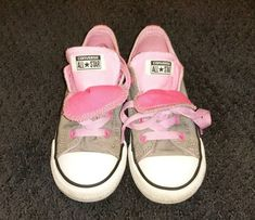 54cd4831c58 Toddler Girls  Converse All Star Sneakers athletic shoes size 10 Gray and  Pink  fashion
