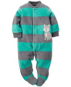 Carter's Baby Boys' Striped Fox Footed Coverall