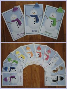 Snowman Color Match:  Interactive color match cards.  A great activity for preschool, pre-k or busy bags.