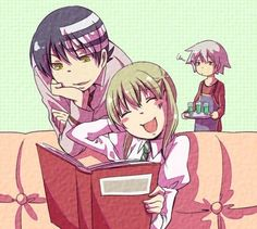 Maka Albarn x Death the Kid.  (with jealous soul in the background) Such a logical pair, I think.  But it's mosty just the adorableness factor.  And have you seen the way he looks at her in the manga??