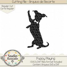 Puppy Playing, Puppy, Playing, cachorro, filhote, dog, pet, filhote brincando, Cachorro, cachorrinho, Dog, rosto, cara, cabeça, head, pet, pet love, amor, animal, farm,  fazenda, arquivo de recorte, corte regular, regular cut, svg, dxf, png,  Studio Ilustrado, Silhouette, cutting file, cutting, cricut, scan n cut.