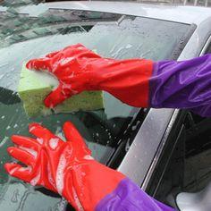 [$1.04] Car Wash Latex Gloves Plus Velvet Double (Colour: Red)