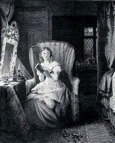 Catherine reading Udolpho - scene from Jane Austen's NORTHANGER ABBEY - artist unknown