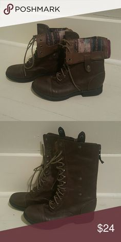 Fold-Over Boots with Zipper Great Condition Laces up & Zip in back. Brown. Madden Girl Shoes Winter & Rain Boots