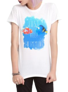 "Fitted white tee from Disney's Finding Nemo with a ""Just Keep Swimming"" design on front."
