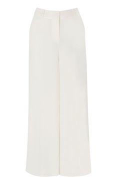 This pair of wide leg trousers features a high waist, fly zip fasting and two side pockets