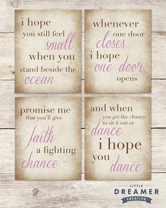 Word Art - Dance Quote - I Hope You Dance - Girl's Room - Set of 4 Prints