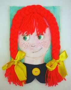 DIY Girl Painting in Canvas.  Put child's picture on gift pkg. and braid yarn hair around face.