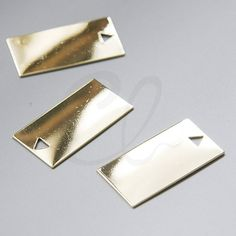 One Piece Premium Gold Plated Brass Base Rectangle Pendant 41x20mm 3096C-N-134