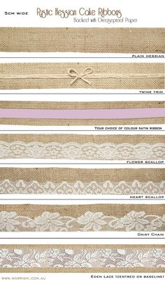 Rustic Hessian Ribbons for Cake decorating and Accessories - Also available with greaseproof paper backing for Cakes!