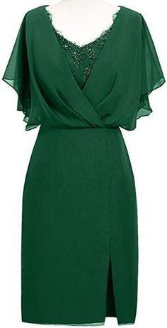 MenaliaDress Short Chiffon V Neck Mother of Bride Dress with Slit Elegant Dresses, Pretty Dresses, Beautiful Dresses, Custom Dresses, Vintage Dresses, Dress Outfits, Fashion Outfits, Elegantes Outfit, African Fashion Dresses