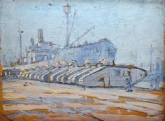 A Line of Tanks by Cecil Constant Philip Lawson, Ww1 Tanks, Ww1 Art, Military Drawings, Art Deco Buildings, World War One, Art Uk, Aviation Art, Panzer, Art Themes