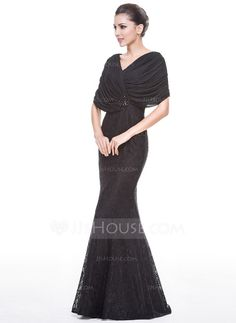Trumpet/Mermaid V-neck Floor-Length Chiffon Lace Evening Dress With Beading Sequins (017051657)