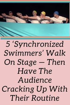 5 'synchronized swimmers' walk on stage — then have the audience cracking up with their routine Synchronized Swimming, Competitive Swimming, Swimmer Problems, Girl Problems, Olympic Gymnastics, Olympic Games, New Pins, Walk On, Routine