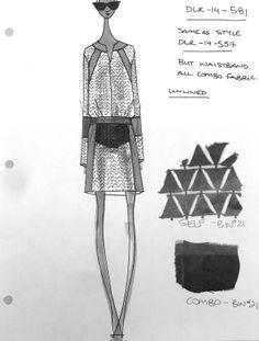Fashion Sketchbook - fashion design drawing & textile swatches - outfit sketch; fashion designer's journal // Derek Lam