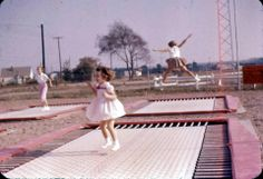 Girls playing on the Trampolines  West Erie Plaza (1960s)