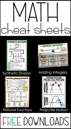 A collection free math cheat sheet pdf printables that can be given to students for their math notebooks or enlarged into anchor charts. Homeschool High School, Homeschool Math, Homeschooling, Math Reference Sheet, Math Cheat Sheet, Cheat Sheets, Sixth Grade Math, Math Anchor Charts, Math Notebooks