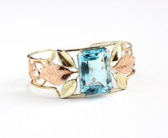 Vintage 14k Yellow & Rose Gold Filled Aqua Blue Glass Stone Bracelet - 1950s Leaf Vine Gold Overlay Cuff Statement Jewelry Signed Krementz by Maejean Vintage on Etsy