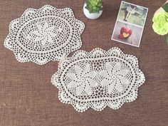 Set of 6 pcs  Hand crocheted Oval coasters  by LynnLakeWorkshop