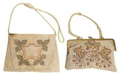"238.	Arts & Crafts purse, H.E Verran Inc. Royal Society, embroidered stylized leaves in green, tan and black on linen, snap closure, 7"" x 10"", minor stains; with an Arts & Crafts purse, both ca. 1908-1913, embroidered stylized design in brown and green with metal frame, 9"" x 6.5"", very good condition 250-350"