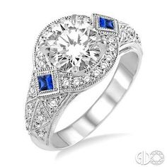 2.3 MM Princess Cut Sapphire and 1/3 Ctw Round Cut Diamond Semi-mount Ring in 14K White Gold