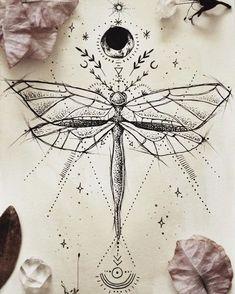geometric drawings, insect, moon, sun and stars, ancient symbols tatoo feminina - tattoo feminina de Dragonfly Tattoo Design, Tattoo Designs, Dragonfly Drawing, Dragonfly Art, Butterfly Design, Art Designs, Tattoo Drawings, Body Art Tattoos, Tattoo Art
