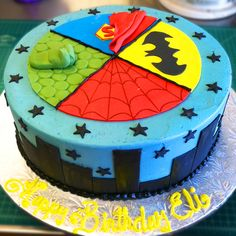 The ultimate comic book superhero birthday cake! #batman #hulk #superman #spiderman Cake # 059.