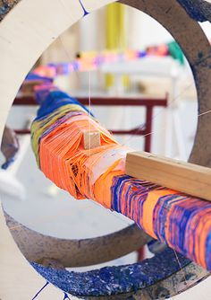 Thread Wrapping Architecture is a continuation of an on-going project by Anton Alvarez; the Thread Wrapping Machine. Art Textile, Textile Artists, Anton, Wrapped Sticks, Wrapping Machine, Royal College Of Art, Art Courses, Environmental Art, Texture Art