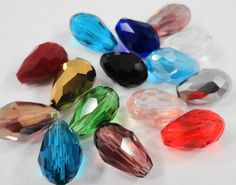 Multicolor Crystal Teardrop Beads 11x8mm (8x11mm) Assorted Color Crystal Beads, Chinese Crystal, Faceted Glass Drop Beads, 15 Loose Beads by BusyBeeBeadSupplies on Etsy