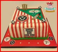 Square Cricket and Football Themed Dad Cake cricket-football-dad-cake Cricket Cake, Dad Cake, My Birthday Cake, Birmingham, Cake Ideas, Dads, Football, Soccer, Futbol