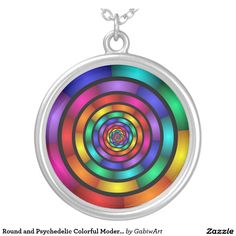 Round and Psychedelic Colorful Modern Fractal Art Round Pendant Necklace