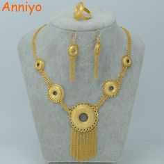 Anniyo Africa Jewelry Set Gold Color Necklace/Earrings/Ring Ethiopian Wedding Eritrea/Arab/Middle East Fashion Items #000701