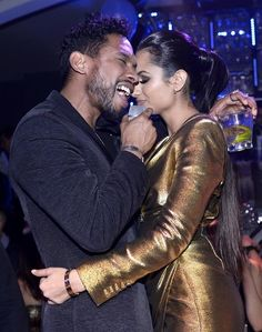 Miguel Rings In the New Year with a Performance at Hyde Bellagio in Las Vegas - December 31, 2014 (Pictured: Miguel with girlfriend Nazanin Mandi – Photo credit: Bryan Steffy / WireImage / www.BryanSteffyPhoto.com).