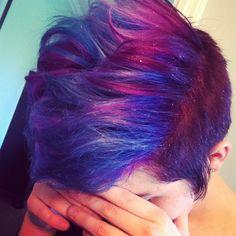 My hair my might actually be magical  #hairdye #hair #dyedhair #galaxyhair #spacehair