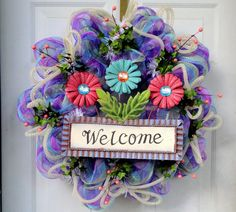 Only ONE of its KIND - Spring Deco Mesh Wreath - Summer Deco Mesh Wreath - Welcome Wreath - Every Day Deco Mesh - Door Decoration via Etsy