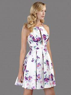 889d8504ac92 Cocktail φόρεμα με φλοράλ μοτίβο και κέντημα στην πλάτη - Φορέματα Κοκτέιλ