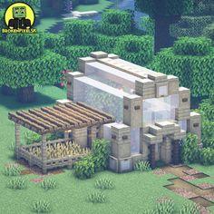 Minecraft Greenhouse, Minecraft Farm, Minecraft Cottage, Easy Minecraft Houses, Minecraft Plans, Minecraft House Designs, Minecraft Decorations, Amazing Minecraft, Minecraft Construction